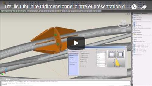 Treillis tubulaire tridimensionnel cintré et présentation de type « gueule de loup »