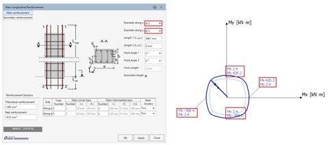GRAITEC Advance BIM Designers | Courbes d'interaction, diagrammes et graphes de stabilité
