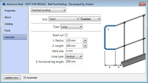 GRAITEC Store Railing Designer(Includes: Ball Posts) for Advance Steel