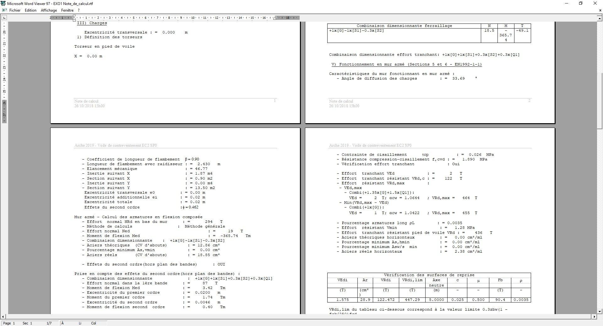 Note de calcul Arche Hybride